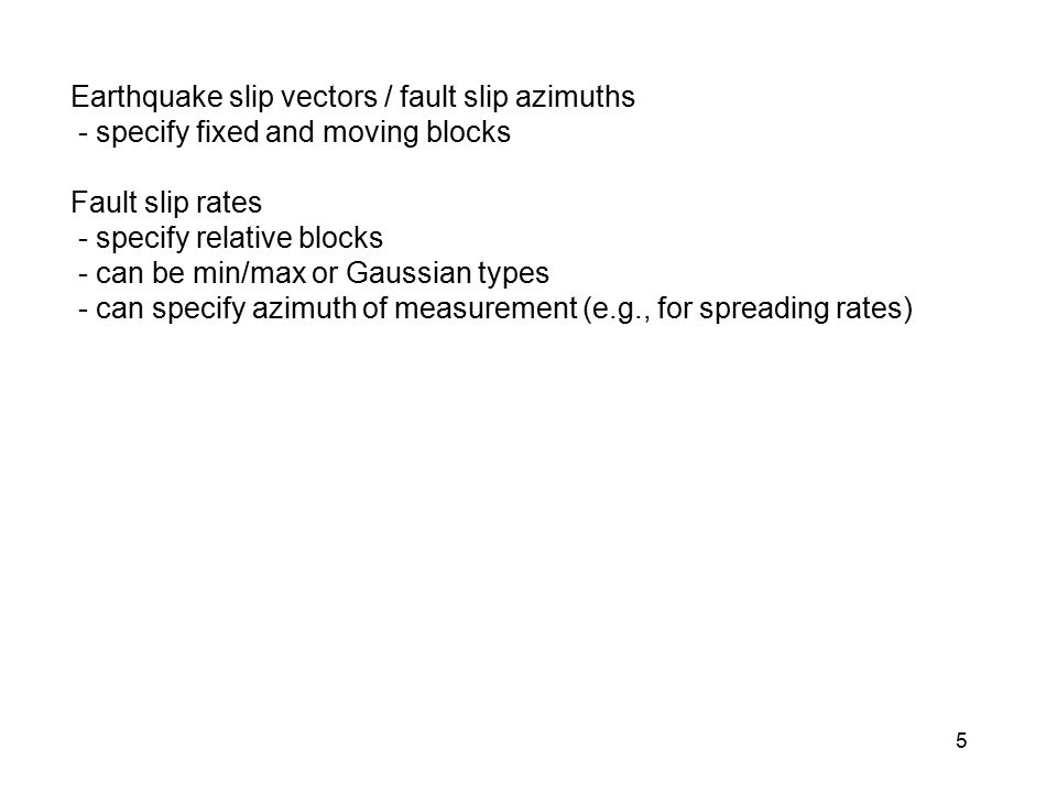 Earthquake slip vectors / fault slip azimuths