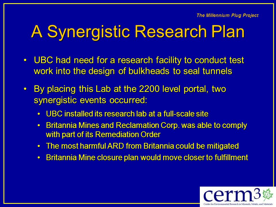 A Synergistic Research Plan