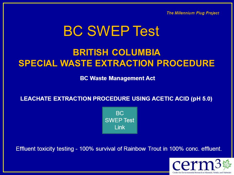 SPECIAL WASTE EXTRACTION PROCEDURE