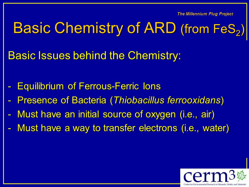 Basic Chemistry of ARD (from FeS2)