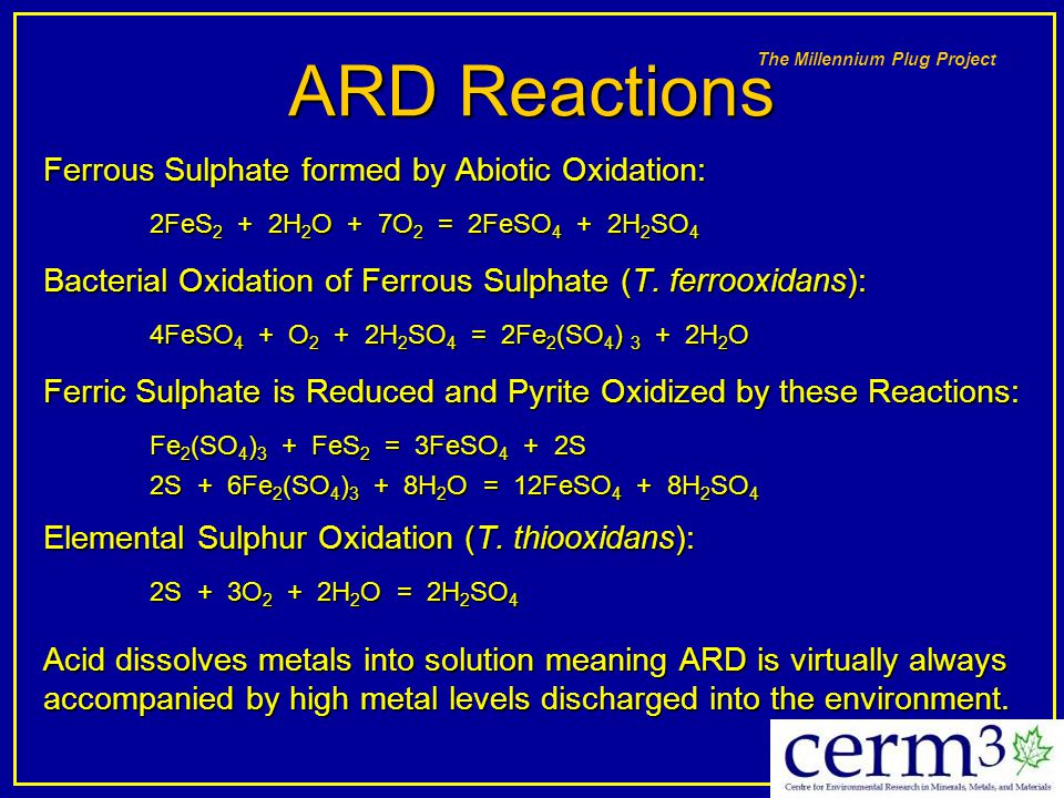 ARD Reactions Ferrous Sulphate formed by Abiotic Oxidation: