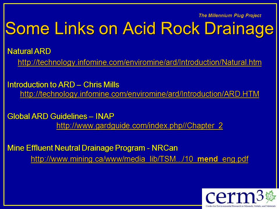 Some Links on Acid Rock Drainage