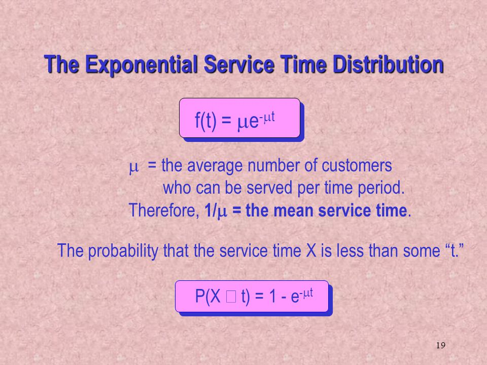 The Exponential Service Time Distribution