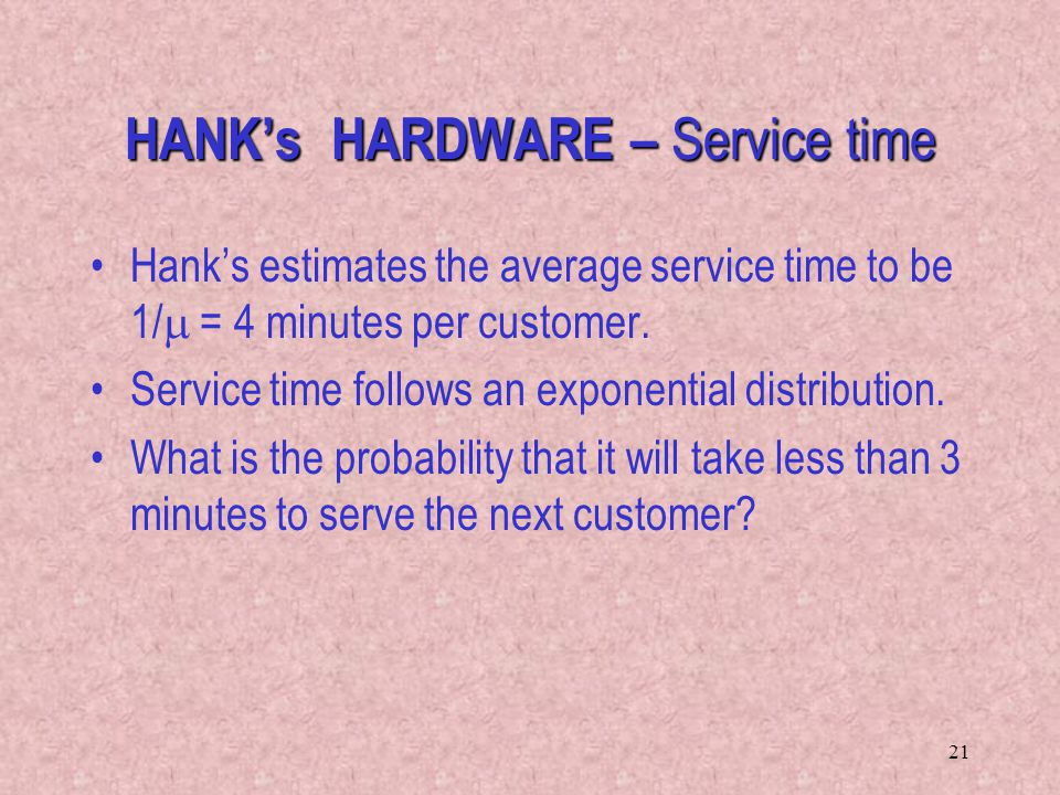 HANK's HARDWARE – Service time