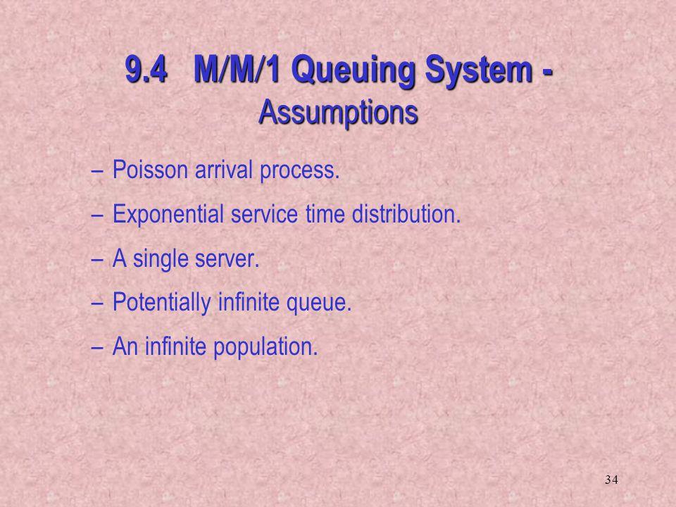 9.4 M/M/1 Queuing System - Assumptions