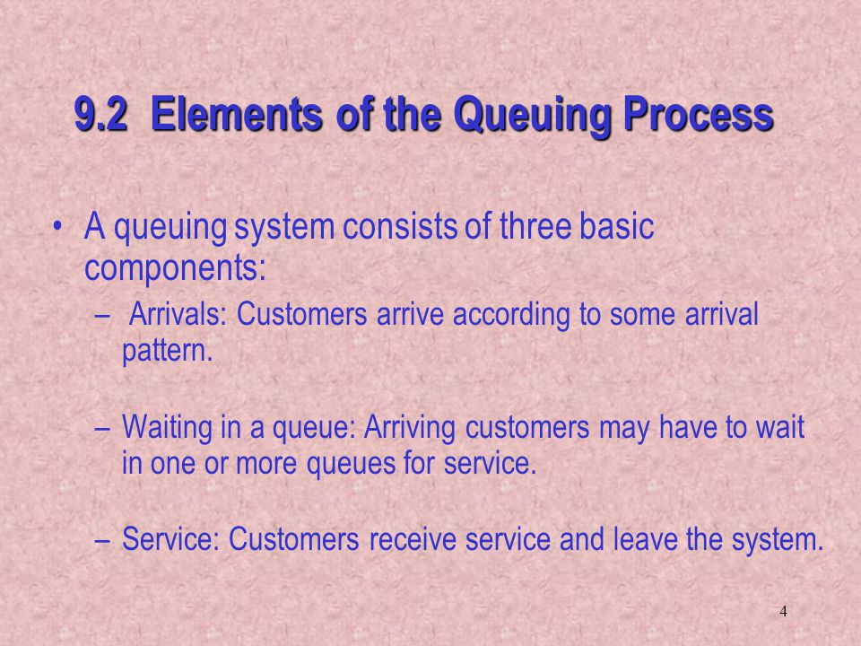 9.2 Elements of the Queuing Process