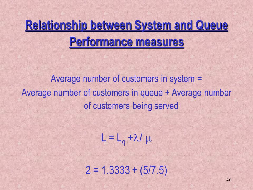 Relationship between System and Queue Performance measures