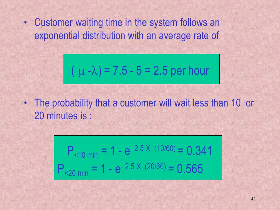 Customer waiting time in the system follows an exponential distribution with an average rate of