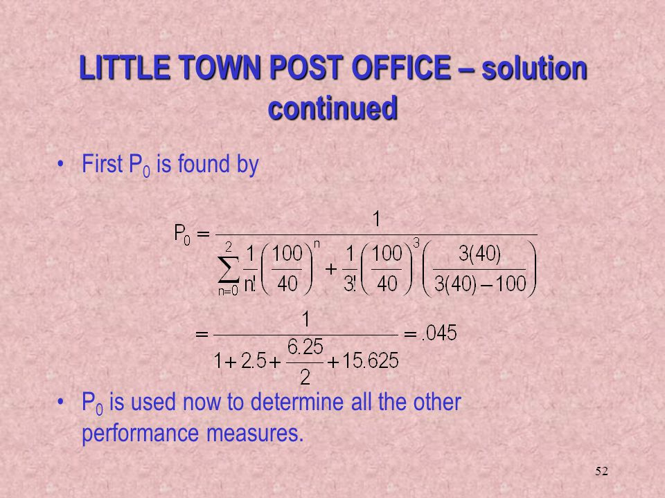 LITTLE TOWN POST OFFICE – solution continued