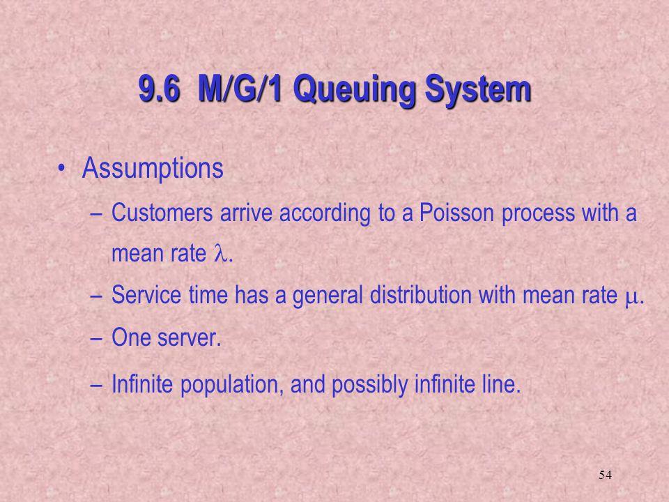 9.6 M/G/1 Queuing System Assumptions