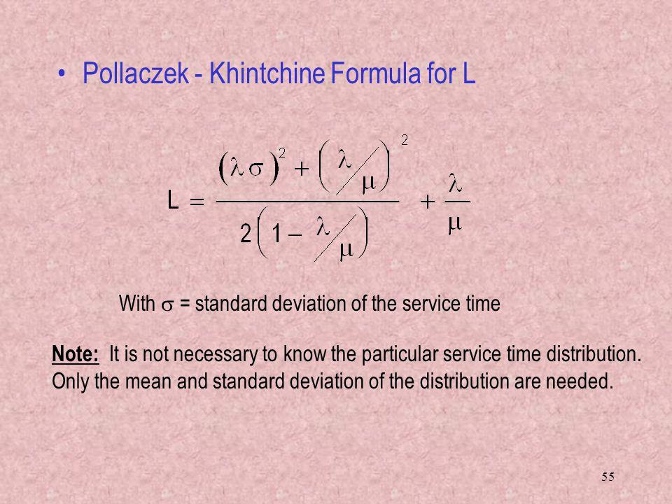 Pollaczek - Khintchine Formula for L