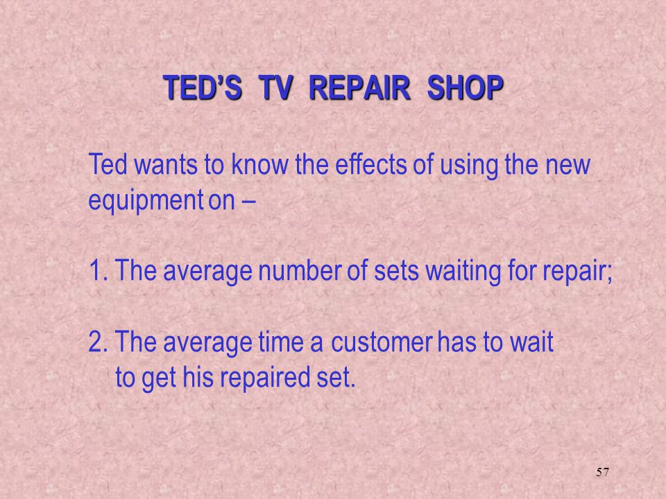 TED'S TV REPAIR SHOP Ted wants to know the effects of using the new