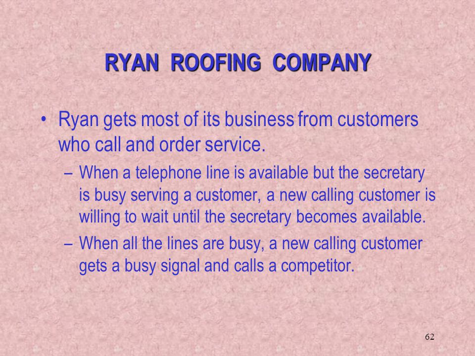 RYAN ROOFING COMPANY Ryan gets most of its business from customers who call and order service.