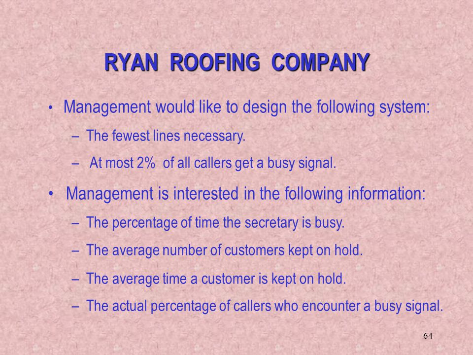 RYAN ROOFING COMPANY Management would like to design the following system: The fewest lines necessary.