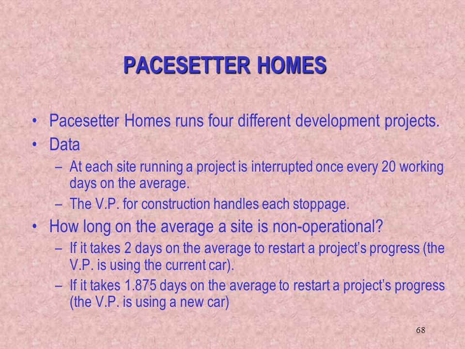 PACESETTER HOMES Pacesetter Homes runs four different development projects. Data.