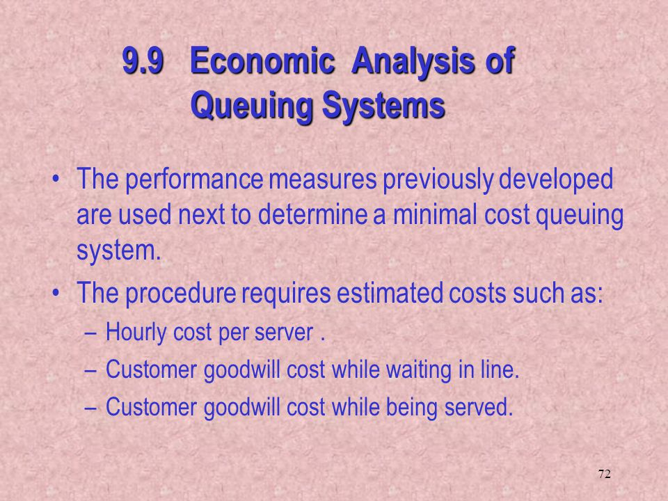 9.9 Economic Analysis of Queuing Systems