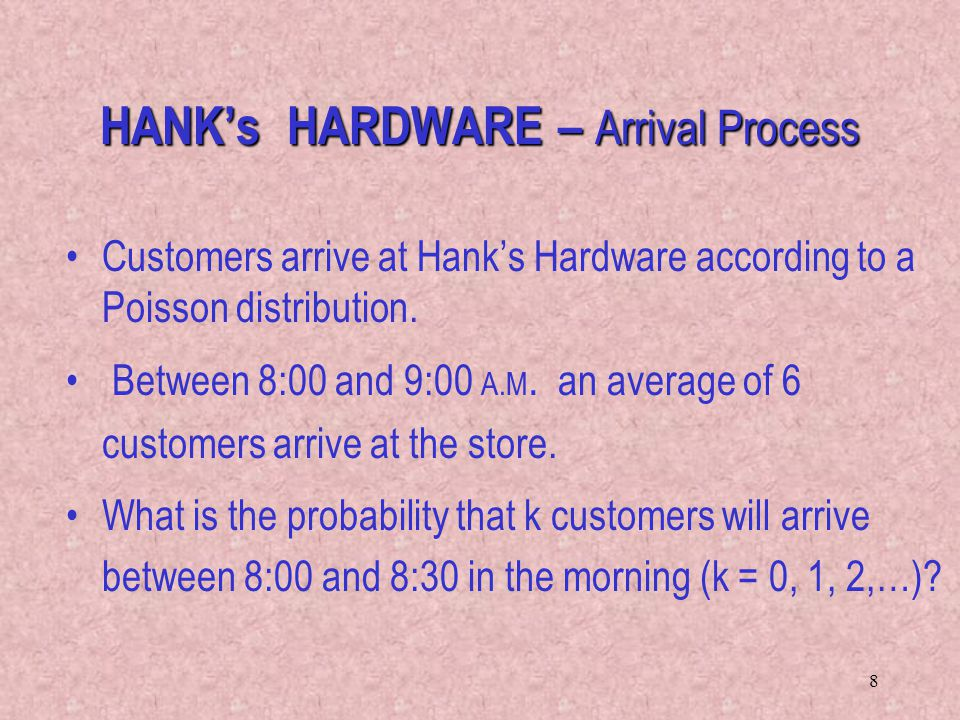 HANK's HARDWARE – Arrival Process