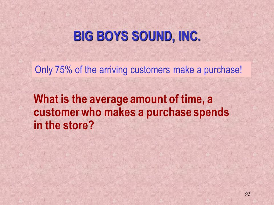 BIG BOYS SOUND, INC. Only 75% of the arriving customers make a purchase!