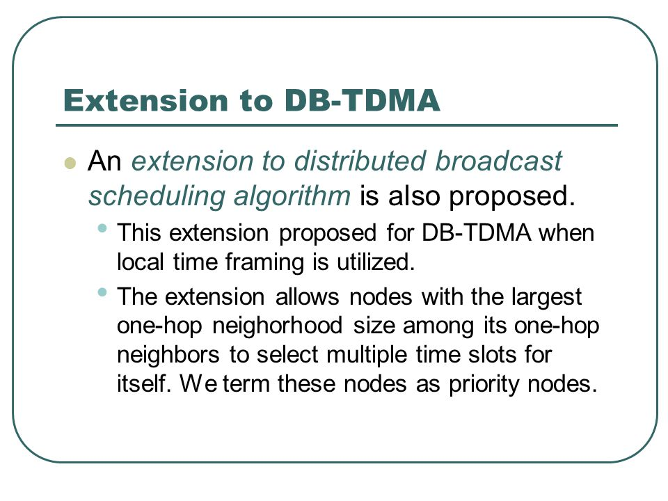Extension to DB-TDMA An extension to distributed broadcast scheduling algorithm is also proposed.
