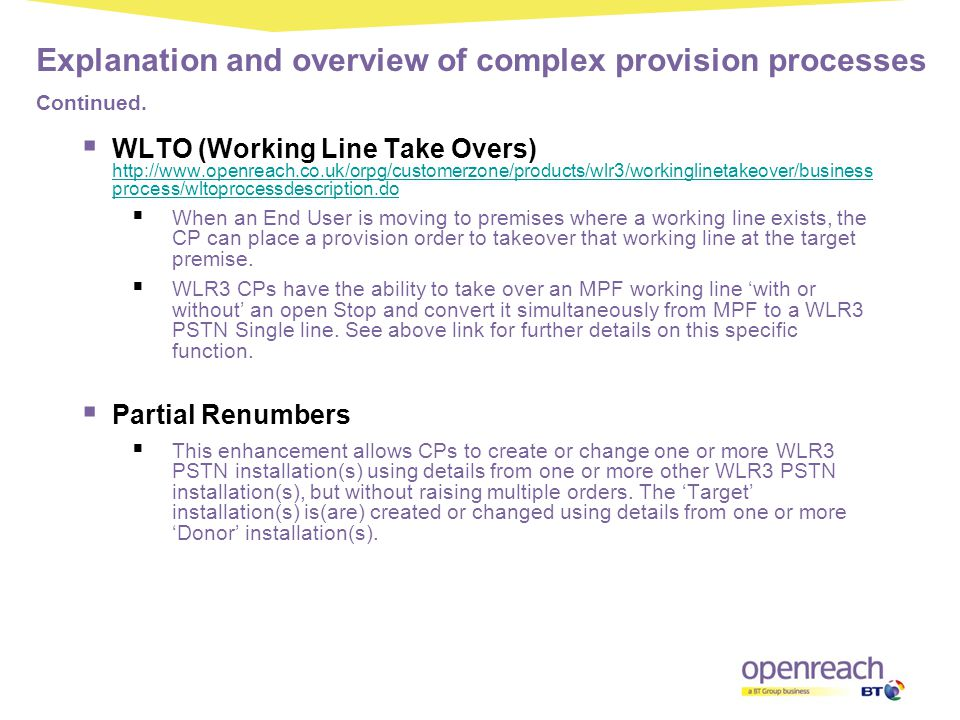 Explanation and overview of complex provision processes Continued.
