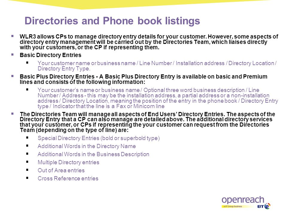 Directories and Phone book listings