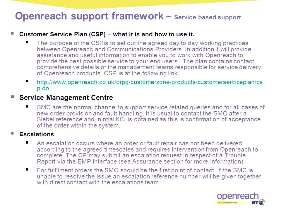 Openreach support framework – Service based support