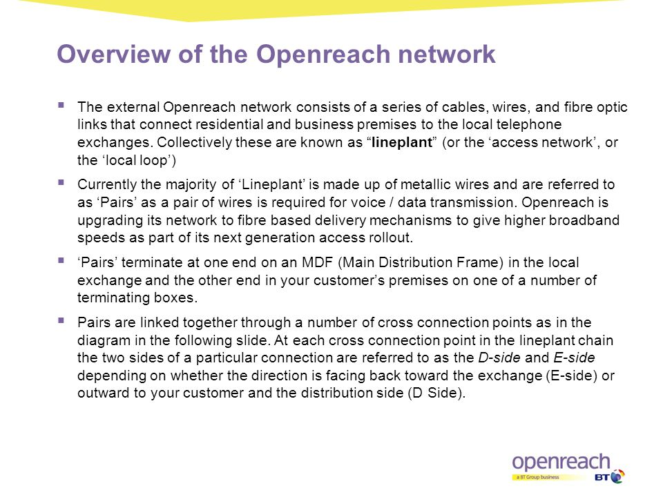 Overview of the Openreach network