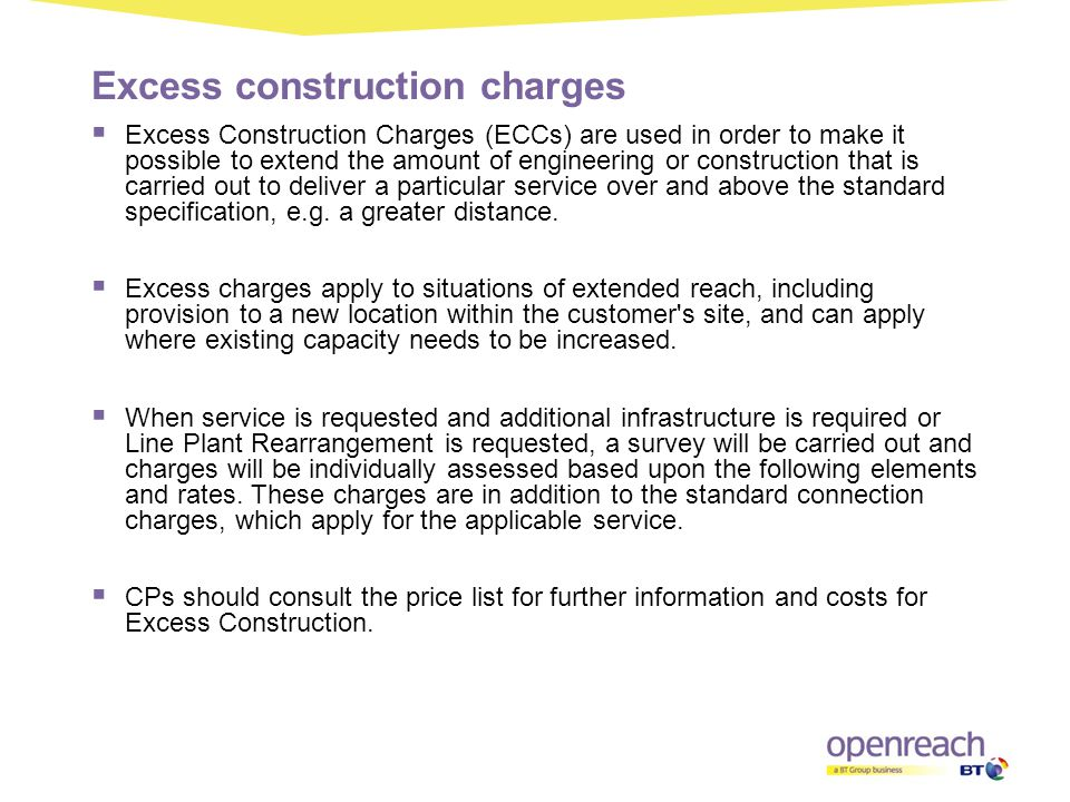 Excess construction charges