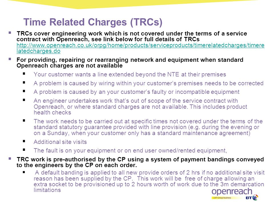 Time Related Charges (TRCs)