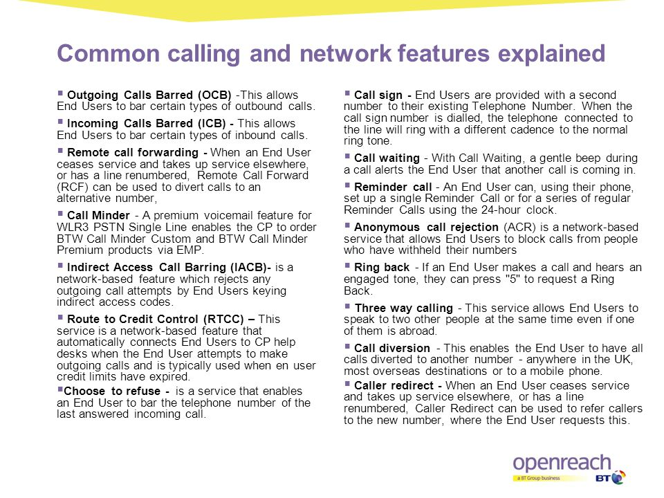 Common calling and network features explained