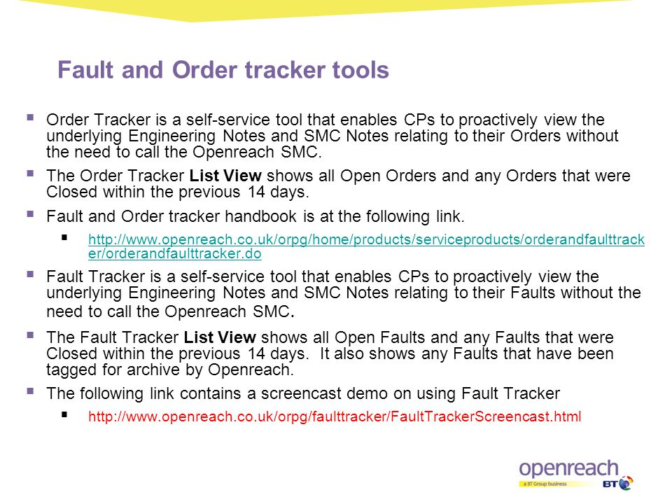 Fault and Order tracker tools