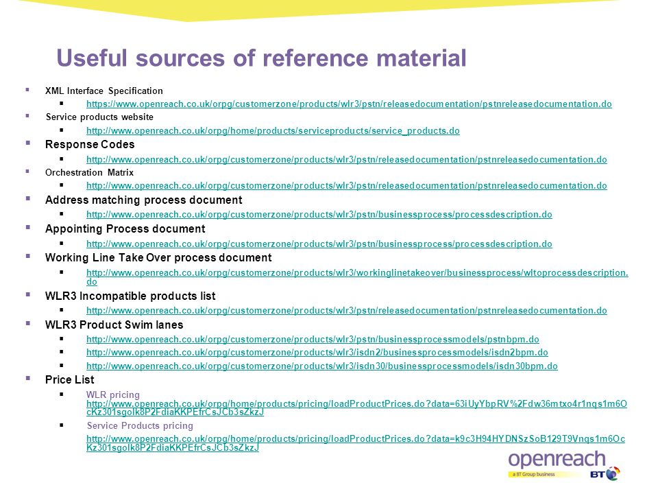 Useful sources of reference material