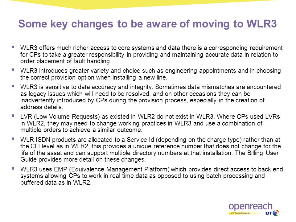 Some key changes to be aware of moving to WLR3