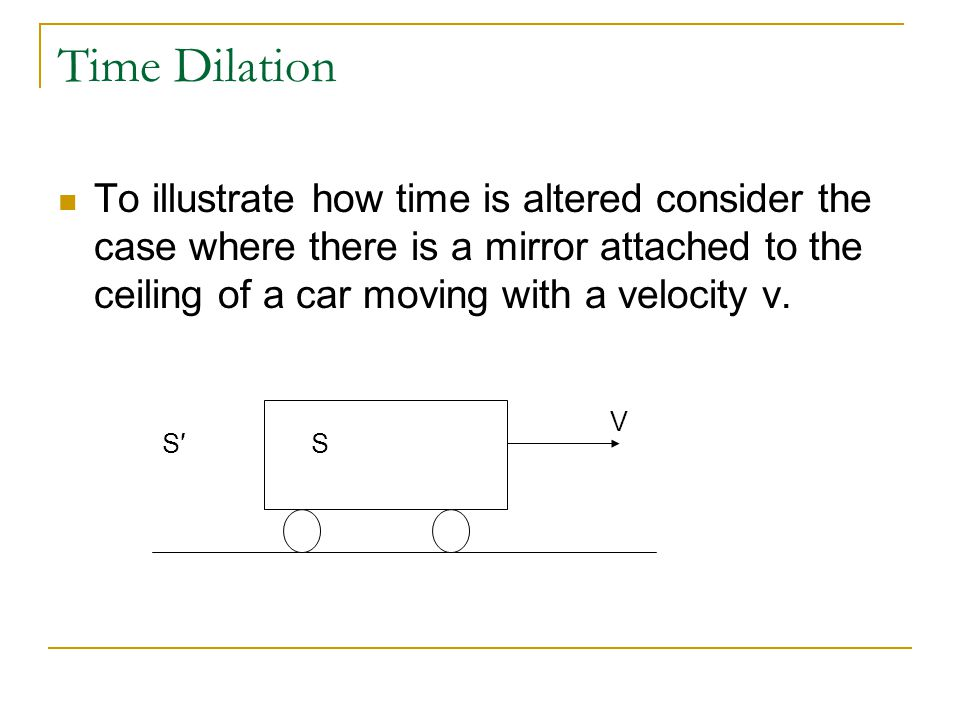 Time Dilation To illustrate how time is altered consider the case where there is a mirror attached to the ceiling of a car moving with a velocity v.