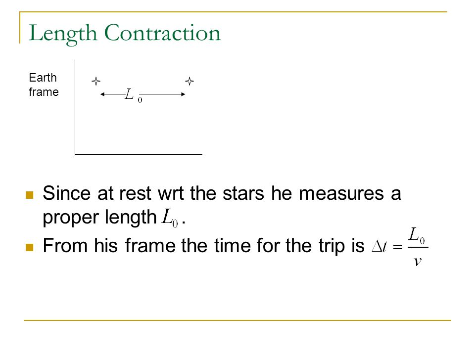 Length Contraction Earth frame. Since at rest wrt the stars he measures a proper length .