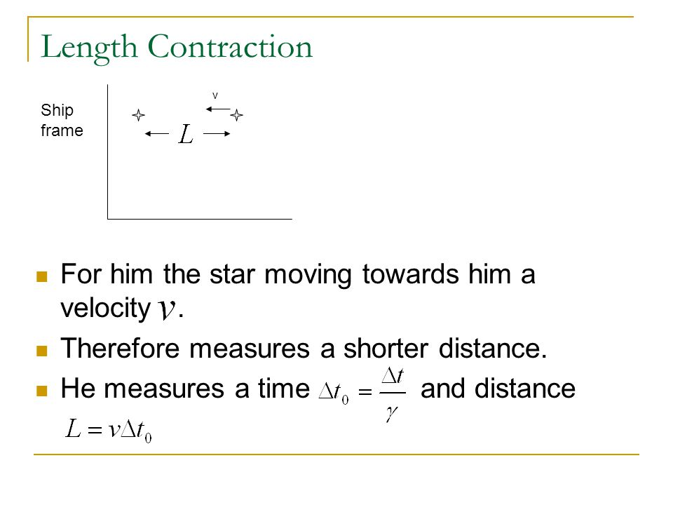 Length Contraction For him the star moving towards him a velocity .