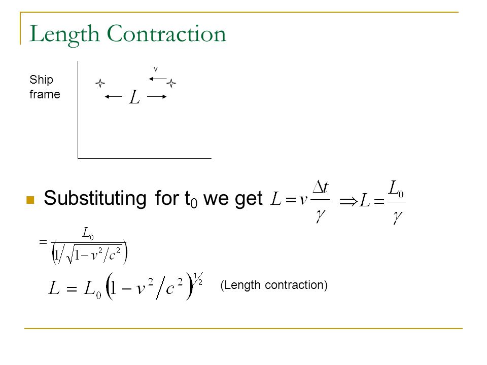 Length Contraction Substituting for t0 we get Ship frame