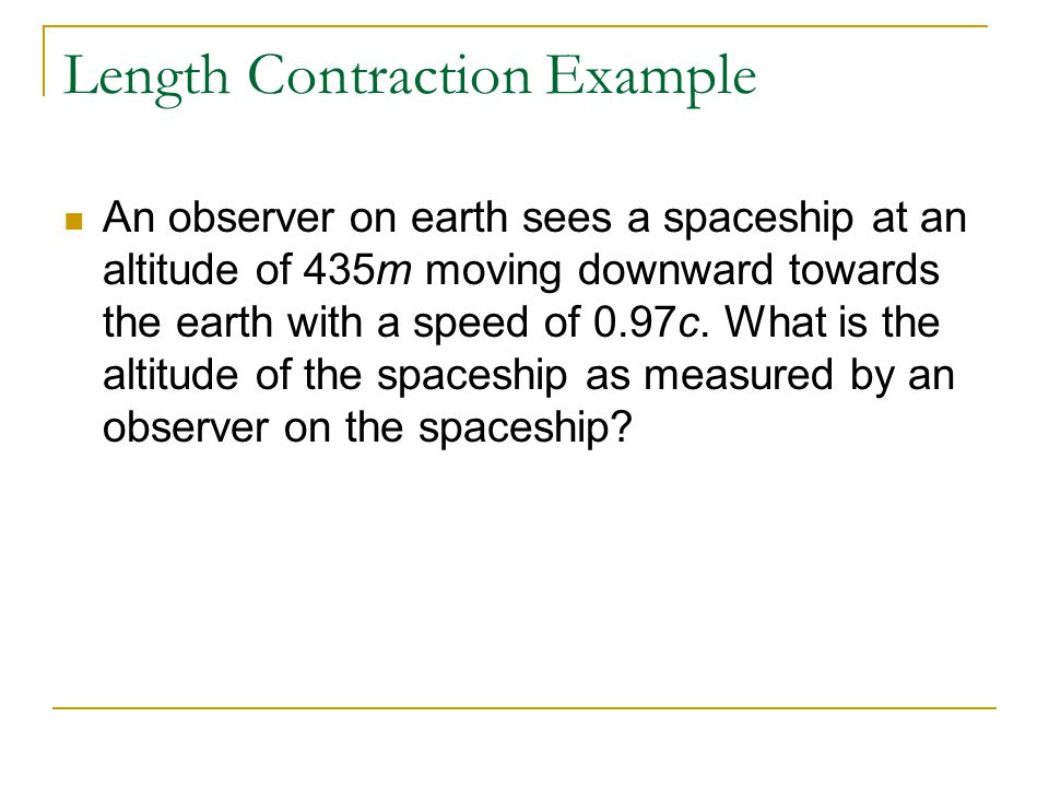 Length Contraction Example