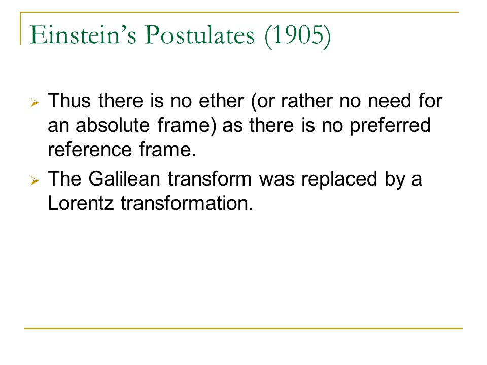 Einstein's Postulates (1905)