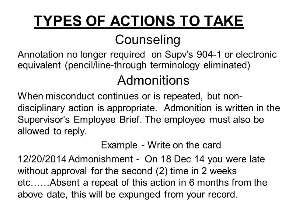 TYPES OF ACTIONS TO TAKE