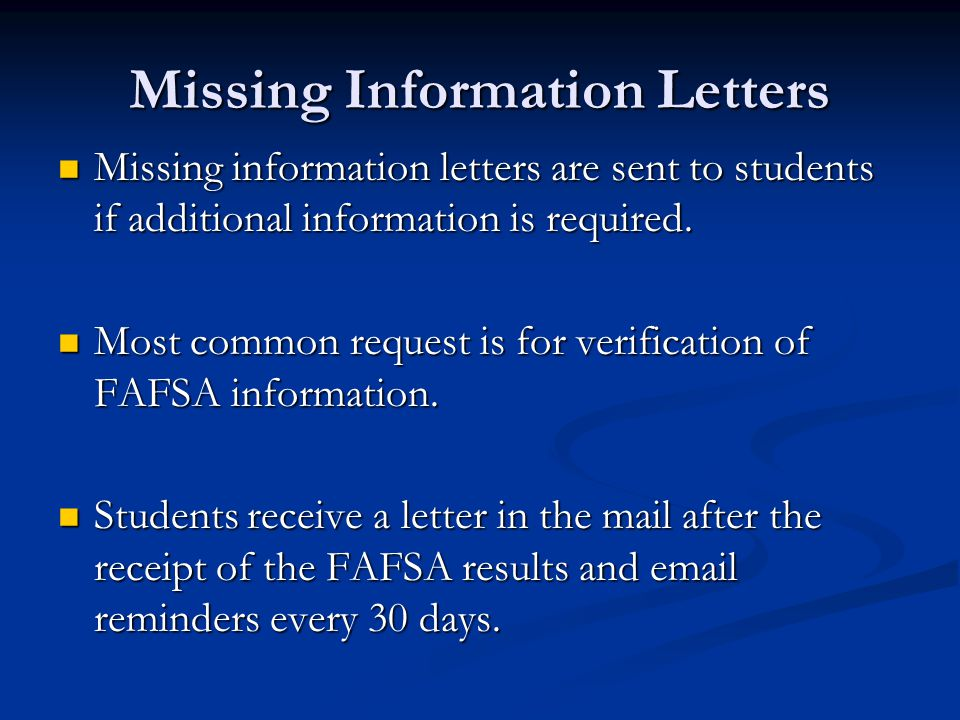 Missing Information Letters