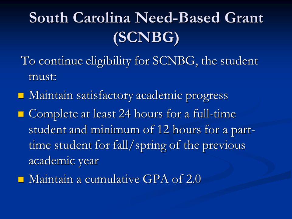South Carolina Need-Based Grant (SCNBG)