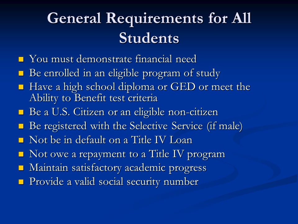 General Requirements for All Students