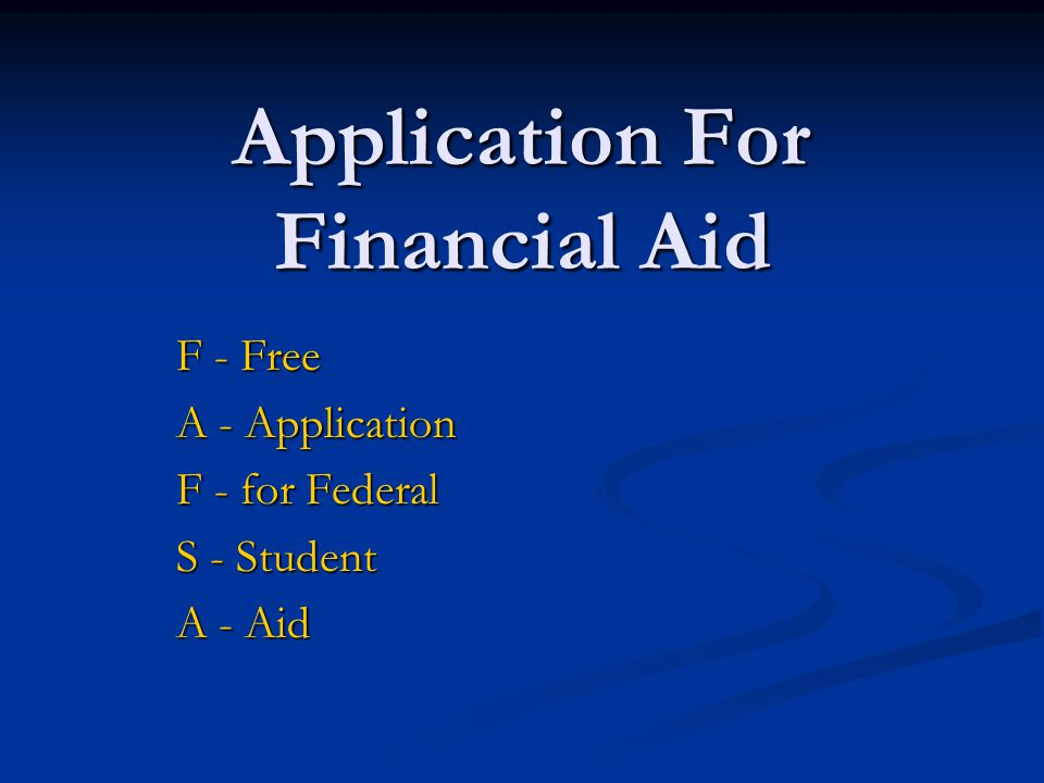 Application For Financial Aid