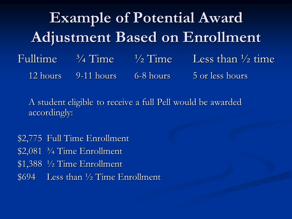 Example of Potential Award Adjustment Based on Enrollment