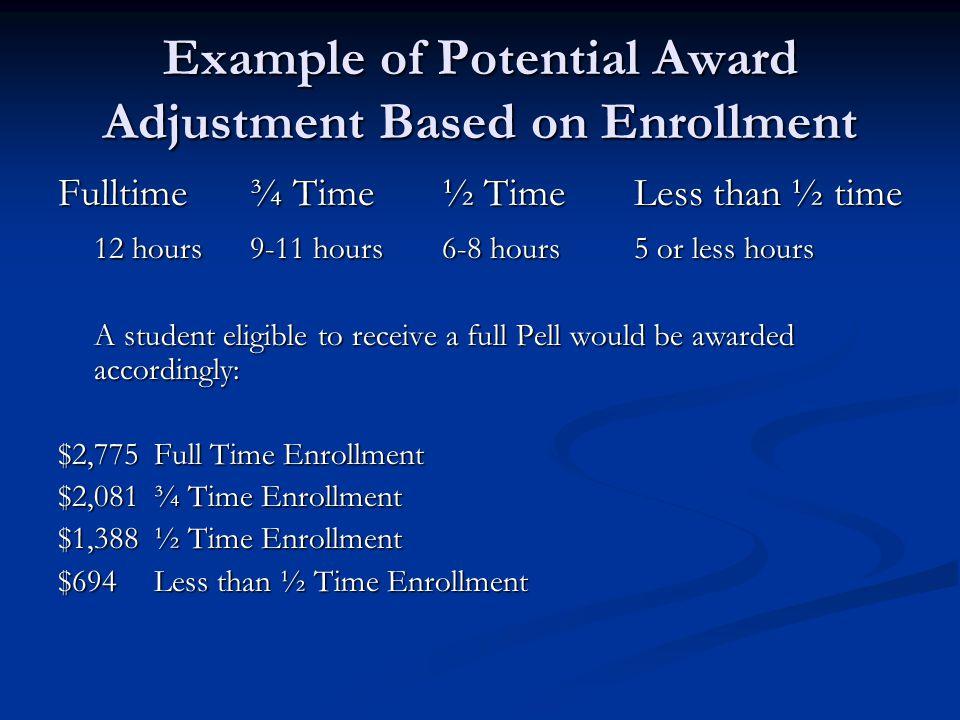 Example of Potential Award Adjustment Based on Enrollment