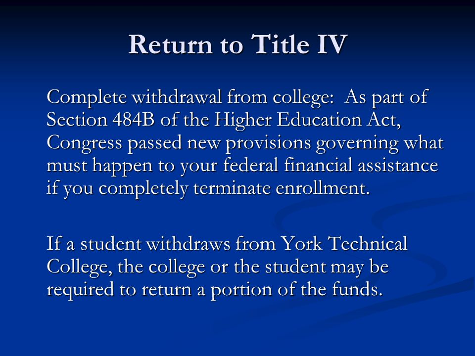 Return to Title IV