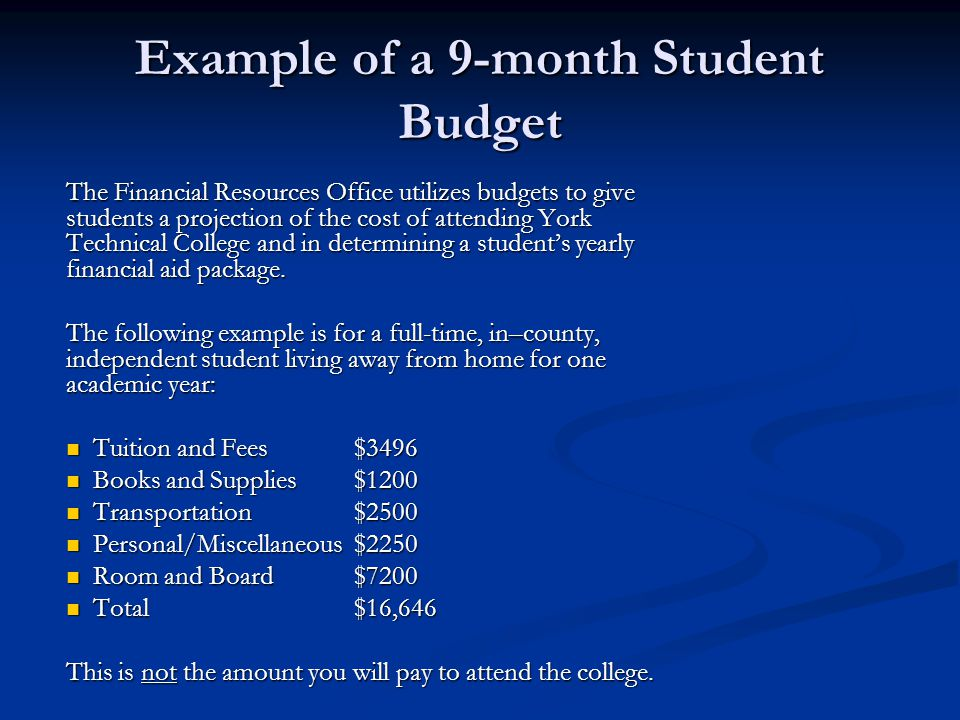 Example of a 9-month Student Budget