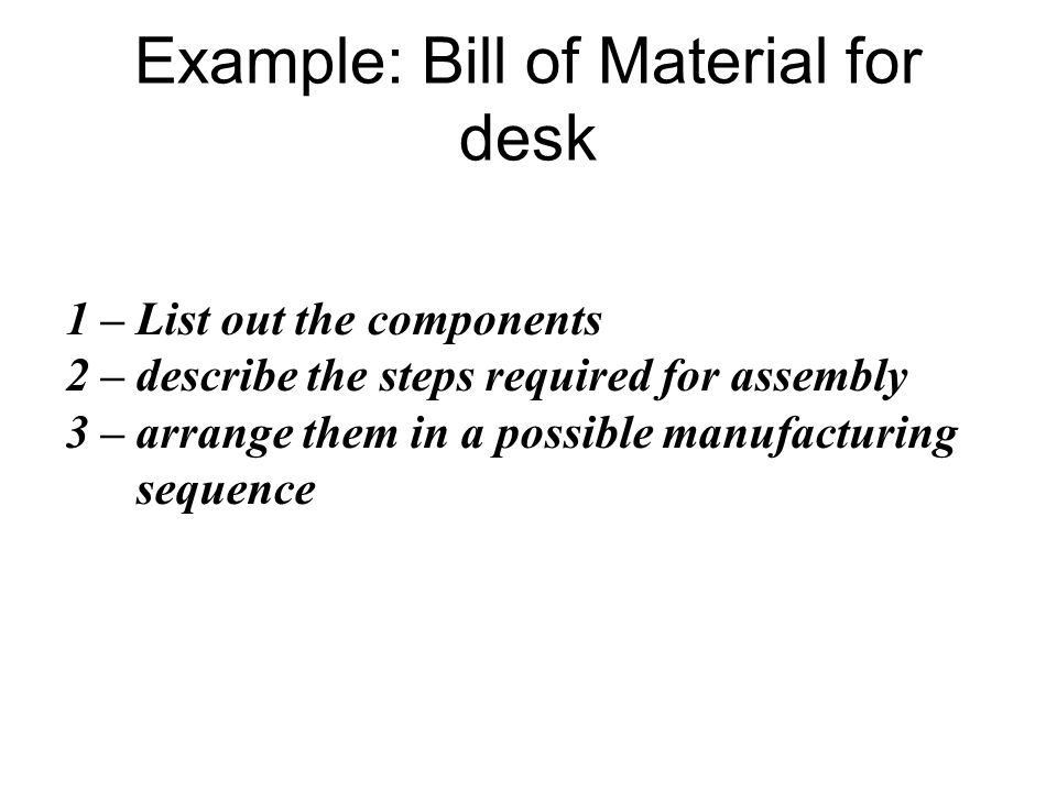 Example: Bill of Material for desk