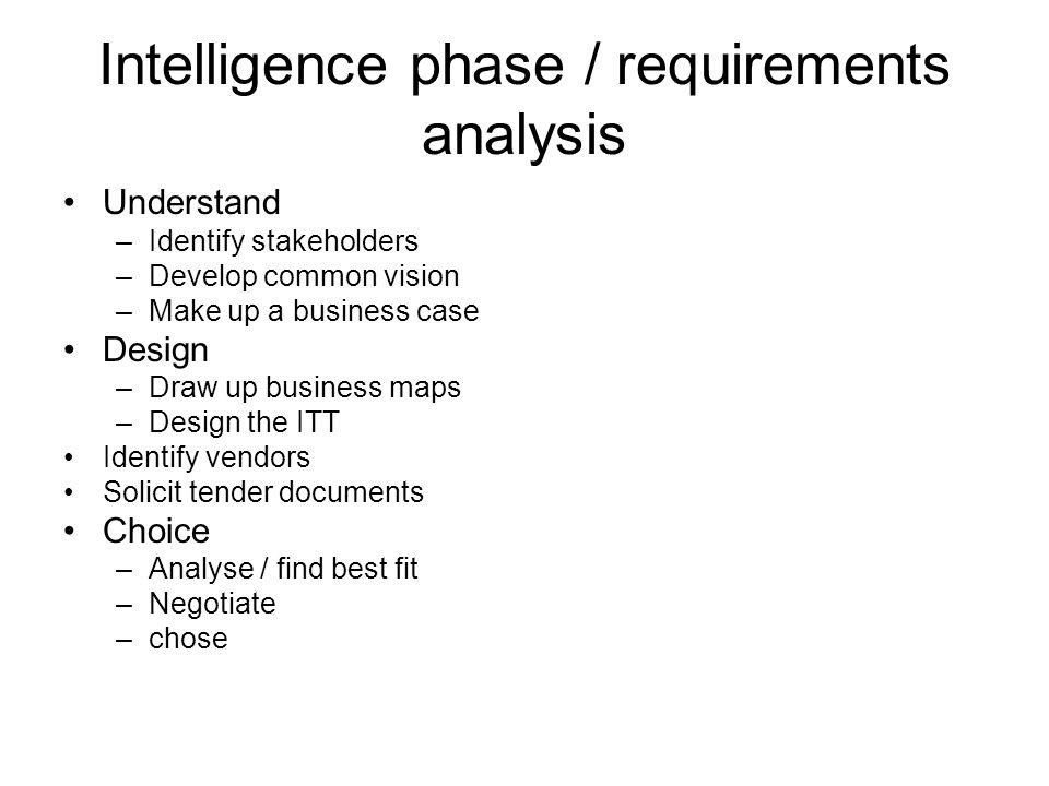 Intelligence phase / requirements analysis